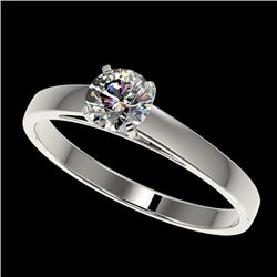 0.53 CTW Certified H-SI/I Quality Diamond Solitaire Engagement Ring 10K White Gold - REF-54R2K - 364