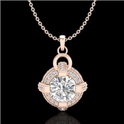 1.57 CTW VS/SI Diamond Micro Pave Stud Necklace 18K Rose Gold - REF-229N3A - 36954