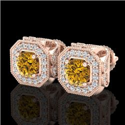2.75 CTW Intense Fancy Yellow Diamond Art Deco Stud Earrings 18K Rose Gold - REF-290A9V - 38289
