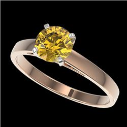 1 CTW Certified Intense Yellow SI Diamond Solitaire Engagement Ring 10K Rose Gold - REF-199W5H - 329