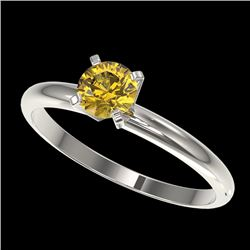 0.50 CTW Certified Intense Yellow SI Diamond Solitaire Engagement Ring 10K White Gold - REF-58A2V -
