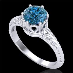 1 CTW Intense Blue Diamond Solitaire Engagement Art Deco Ring 18K White Gold - REF-180X2R - 38118