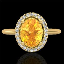 1.75 CTW Citrine & Micro VS/SI Diamond Ring Solitaire Halo 18K Yellow Gold - REF-43A6V - 21008
