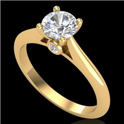 0.83 CTW VS/SI Diamond Solitaire Art Deco Ring 18K Yellow Gold - REF-200K2W - 37285