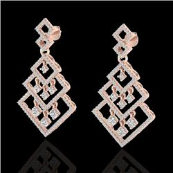 3 CTW Micro Pave VS/SI Diamond Earrings Dangling Designer 14K Rose Gold - REF-267K6W - 22489