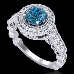 1.12 CTW Fancy Intense Blue Diamond Solitaire Art Deco Ring 18K White Gold - REF-167M3F - 37691