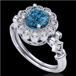 1.20 CTW Intense Blue Diamond Solitaire Engagement Art Deco Ring 18K White Gold - REF-218R2K - 37831