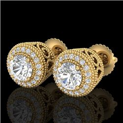1.55 CTW VS/SI Diamond Solitaire Art Deco Stud Earrings 18K Yellow Gold - REF-259F3N - 36964