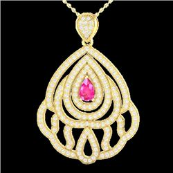 2 CTW Pink Sapphire & Micro Pave VS/SI Diamond Necklace 18K Yellow Gold - REF-178N2A - 21268
