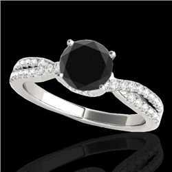 1.30 CTW Certified VS Black Diamond Solitaire Ring 10K White Gold - REF-68Y2X - 35278