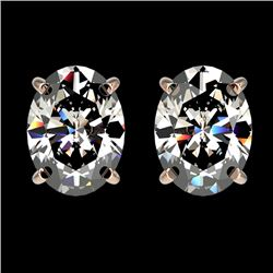 2.50 CTW Certified VS/SI Quality Oval Diamond Stud Earrings 10K Rose Gold - REF-840H2M - 33112