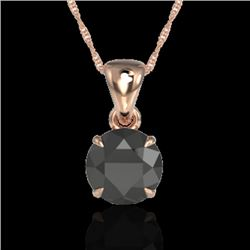 2 CTW Black VS/SI Diamond Certified Inspired Solitaire Necklace 14K Rose Gold - REF-56H4M - 22014