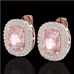 5.50 CTW Morganite & Micro Pave VS/SI Diamond Certified Halo Earrings 14K Rose Gold - REF-147A8V - 2