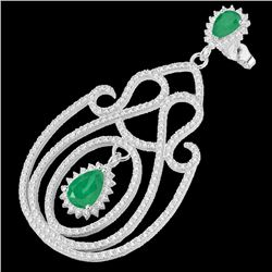 6.40 CTW Emerald & Micro Pave VS/SI Diamond Certified Earrings 14K White Gold - REF-303W5H - 22425