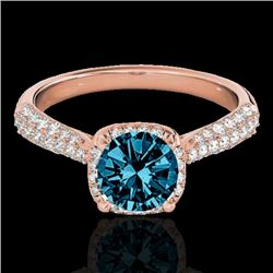 1.50 CTW SI Certified Fancy Blue Diamond Solitaire Halo Ring 10K Rose Gold - REF-177Y6X - 33264