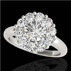 2.09 CTW H-SI/I Certified Diamond Solitaire Halo Ring 10K White Gold - REF-250Y9X - 34423