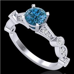 1.03 CTW Fancy Intense Blue Diamond Solitaire Art Deco Ring 18K White Gold - REF-114R5K - 37677
