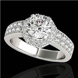 1.40 CTW H-SI/I Certified Diamond Solitaire Halo Ring 10K White Gold - REF-172H5M - 34549