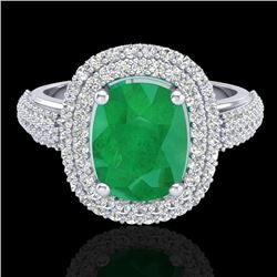 3.50 CTW Emerald & Micro Pave VS/SI Diamond Certified Halo Ring 18K White Gold - REF-143M6F - 20717