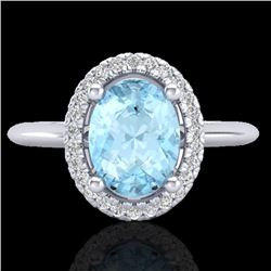 1.50 CTW Aquamarine & Micro VS/SI Diamond Ring Solitaire Halo 18K White Gold - REF-54H2M - 21001