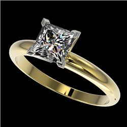 1.25 CTW Certified VS/SI Quality Princess Diamond Solitaire Ring 10K Yellow Gold - REF-372H3M - 3291