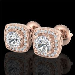 1.25 CTW Cushion Cut VS/SI Diamond Art Deco Stud Earrings 18K Rose Gold - REF-218X2R - 37035