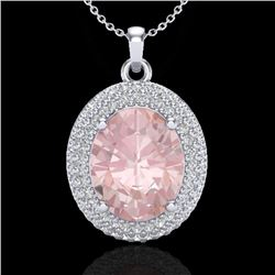4.50 CTW Morganite & Micro Pave VS/SI Diamond Certified Necklace 18K White Gold - REF-157K6W - 20568