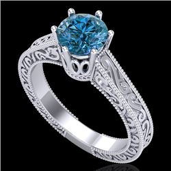 1 CTW Intense Blue Diamond Solitaire Engagement Art Deco Ring 18K White Gold - REF-200W2H - 37572