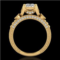 1.75 CTW Princess VS/SI Diamond Art Deco Ring 18K Yellow Gold - REF-445A5V - 37150