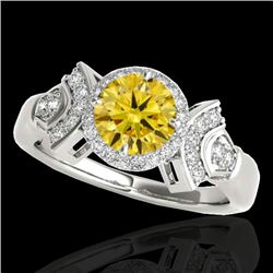 1.56 CTW Certified SI/I Fancy Intense Yellow Diamond Solitaire Halo Ring 10K White Gold - REF-209M3F