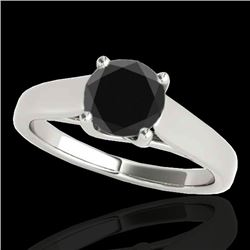 1 CTW Certified VS Black Diamond Solitaire Ring 10K White Gold - REF-42M4F - 35528