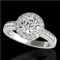 1.40 CTW H-SI/I Certified Diamond Solitaire Halo Ring 10K White Gold - REF-180V2Y - 34342