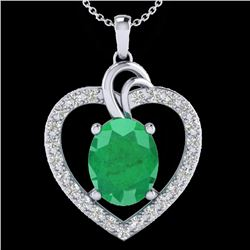 4 CTW Emerald & VS/SI Diamond Designer Inspired Heart Necklace 14K White Gold - REF-81N8A - 20492