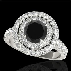 3 CTW Certified VS Black Diamond Solitaire Halo Ring 10K White Gold - REF-147A3V - 34223