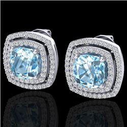 4.05 CTW Sky Blue Topaz & Micro VS/SI Diamond Halo Earrings 18K White Gold - REF-104X4R - 20157