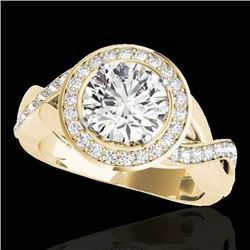 2 CTW H-SI/I Certified Diamond Solitaire Halo Ring 10K Yellow Gold - REF-241V5Y - 33278