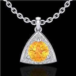 1.50 CTW Citrine & Micro Pave Halo VS/SI Diamond Necklace 18K White Gold - REF-41Y6X - 20521
