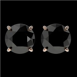 2 CTW Fancy Black VS Diamond Solitaire Stud Earrings 10K Rose Gold - REF-40R9K - 33084