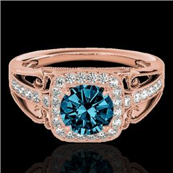 1.30 CTW SI Certified Fancy Blue Diamond Solitaire Halo Ring 10K Rose Gold - REF-165V6Y - 33775