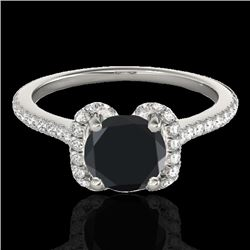 1.33 CTW Certified VS Black Diamond Solitaire Halo Ring 10K White Gold - REF-57V6Y - 33292