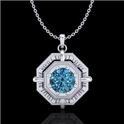 0.75 CTW Fancy Intense Blue Diamond Solitaire Art Deco Necklace 18K White Gold - REF-121A8V - 37460