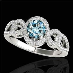 1.38 CTW SI Certified Fancy Blue Diamond Solitaire Halo Ring 10K White Gold - REF-174N5A - 33923