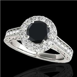 1.70 CTW Certified VS Black Diamond Solitaire Halo Ring 10K White Gold - REF-84A4V - 33727