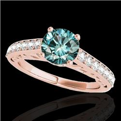1.40 CTW SI Certified Fancy Blue Diamond Solitaire Ring 10K Rose Gold - REF-161K8W - 35020