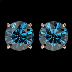 3 CTW Certified Intense Blue SI Diamond Solitaire Stud Earrings 10K Rose Gold - REF-379A3V - 33127