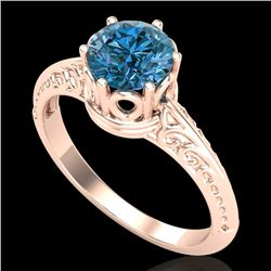 1 CTW Intense Blue Diamond Solitaire Engagement Art Deco Ring 18K Rose Gold - REF-180K2W - 38119