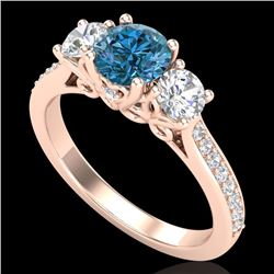 1.67 CTW Intense Blue Diamond Solitaire Art Deco 3 Stone Ring 18K Rose Gold - REF-200A2V - 37811