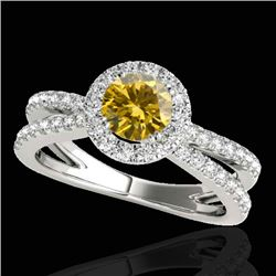 1.55 CTW Certified SI/I Fancy Intense Yellow Diamond Solitaire Halo Ring 10K White Gold - REF-178W2H