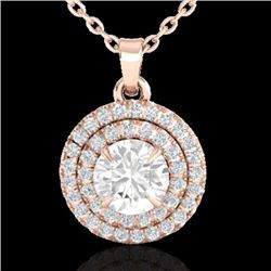 1 CTW Micro Pave VS/SI Diamond Solitaire Necklace Double Halo 14K Rose Gold - REF-133Y6X - 21541