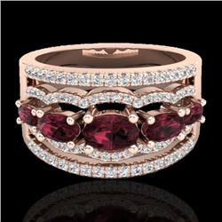 2.25 CTW Garnet & Micro Pave VS/SI Diamond Certified Designer Ring 10K Rose Gold - REF-69W3H - 21037